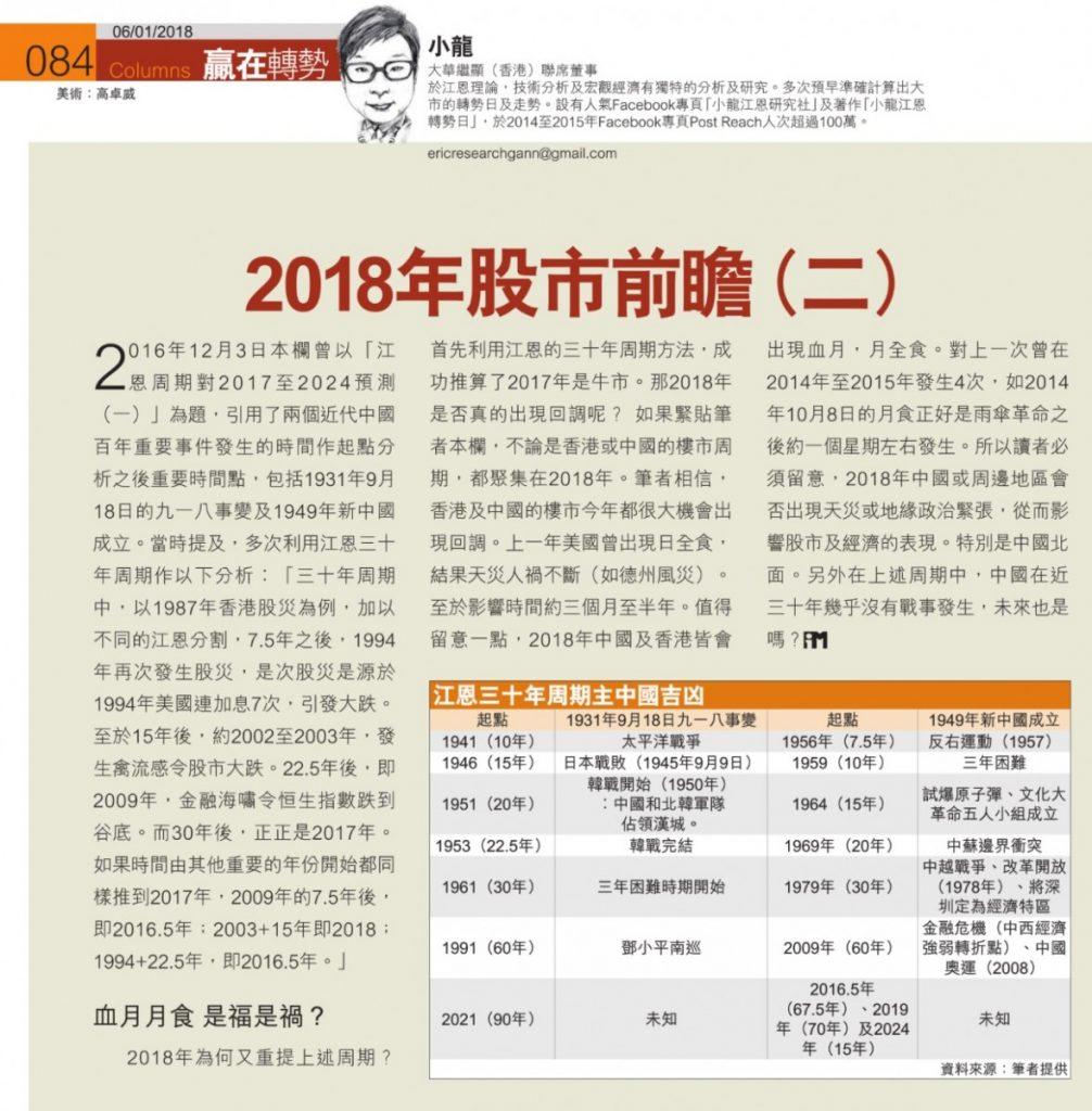 , 贏在轉勢:2018年股市前瞻(二): 中國周期吉凶, 小龍江恩研究社