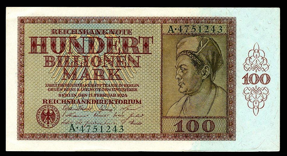 A 100 trillion mark banknote issued in October 1923, at the height of German hyperinflation : ArtefactFans